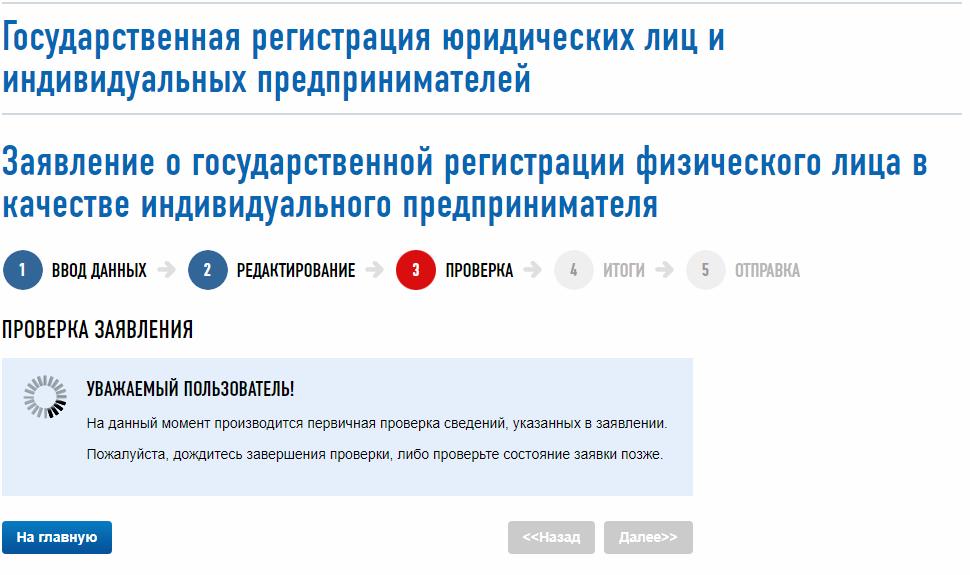 Сервис по регистрации ИП онлайн а сайте ФНС - проверка заявления